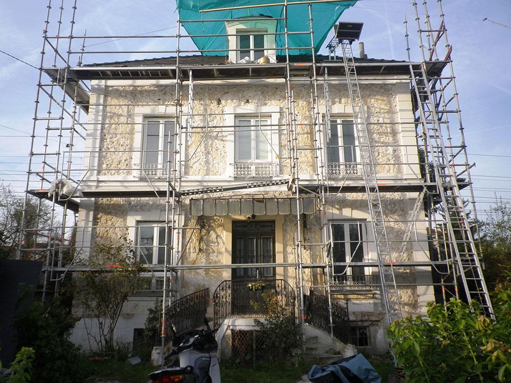 Réintégration des façades d'une demeure 1870 dans l'air du temps avant