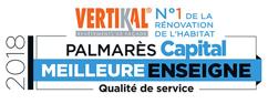 Le Magazine Capital et l'institut d'études Statita, a décerné à la marque VERTIKAL®, le titre de «Meilleure Enseigne de France» en «Qualité de Service» tous secteurs de l'habitat confondus.